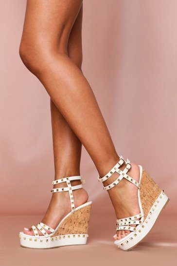 White Studded Cork Wedges