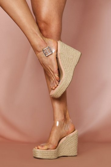 Clear Strap Cork Wedge