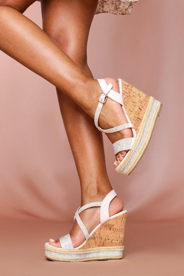 Nude Diamante Strap Cork Wedge