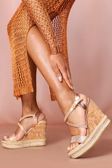 Rose Diamante Strap Cork Wedge