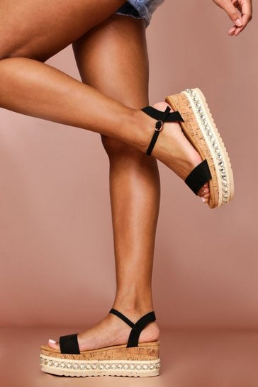 Black Jewel Embellished Flatform Sandal