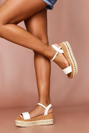 White Jewel Embellished Flatform Sandal