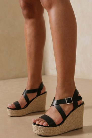 Black Chunky Strap Espadrilles Wedge