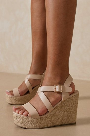 Nude Chunky Strap Espadrilles Wedge