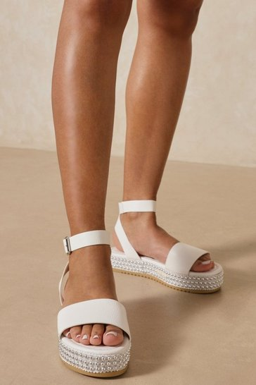 White Studded Detail Sole Platform Sandal