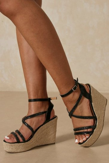 Black Strappy Glam Wedge