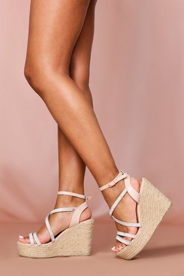 Nude Strappy Glam Wedge
