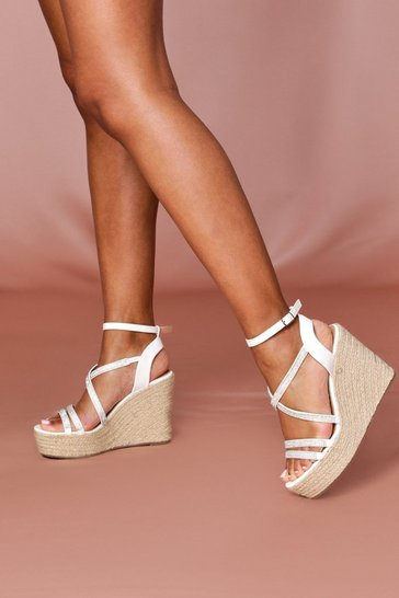 White Strappy Glam Wedge