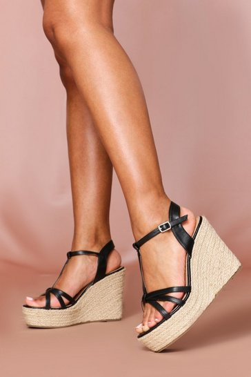 Black Strappy Ankle Strap Espadrille Wedge