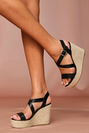 Black Strap Detail Espadrille Wedge