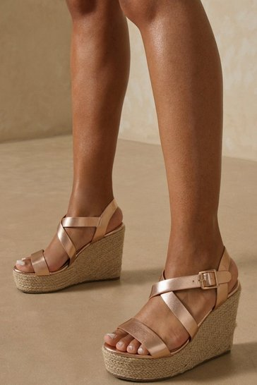 Rose Strap Detail Espadrille Wedge