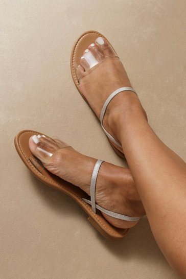 Clear Basic Double Strap Flat Sandals