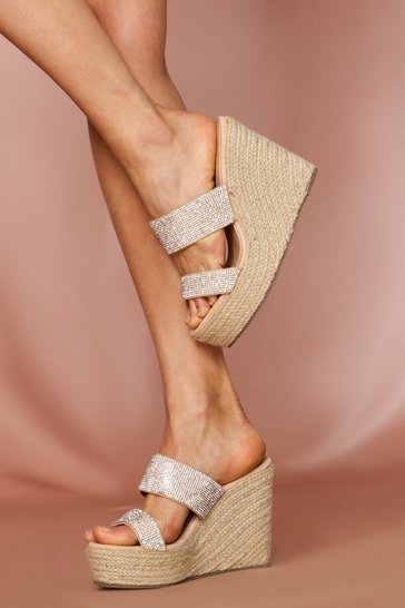 Rose gold Double Strap Diamante Espadrille Wedge