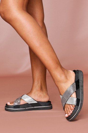 Black Diamante Cross Strap Slide
