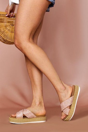 Rose Espadrille Diamante Platform Sliders