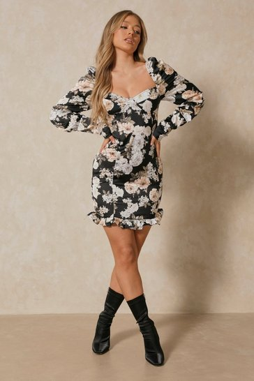 Black Cup Detail Frill Hem Floral Dress