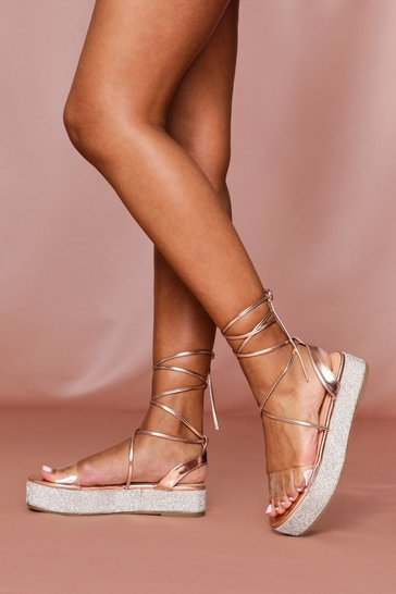 Rose gold Diamante Sole Flatform Sandal