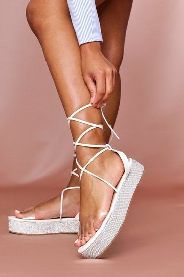 White Diamante Sole Flatform Sandal