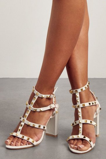 White Block Heel Studded Strappy Heels
