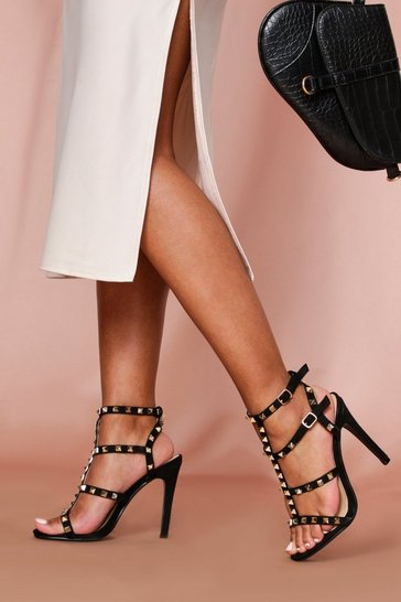 Black Strappy Stud Detail Heels