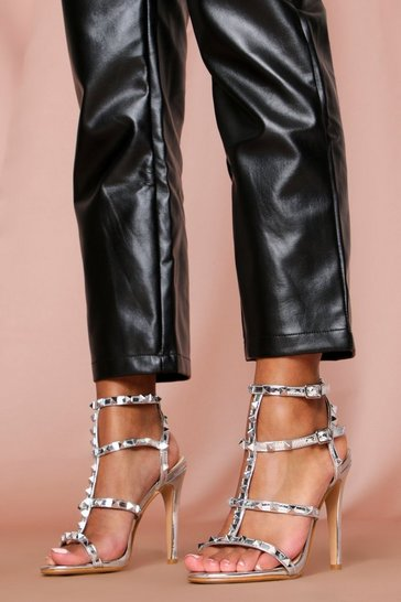 Silver Strappy Stud Detail Heels