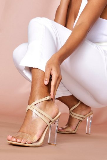 Nude Clear Square Toe Heels