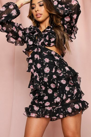 Black Floral Ruffle Detail Cut Out Dress