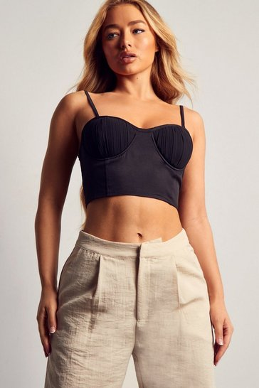 Black Pleated Cup Corset Top