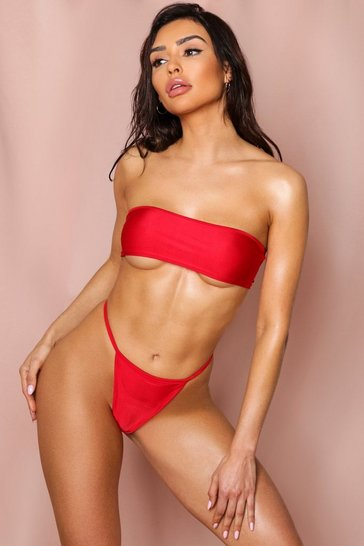 Red High Leg Strappy Bikini Bottoms