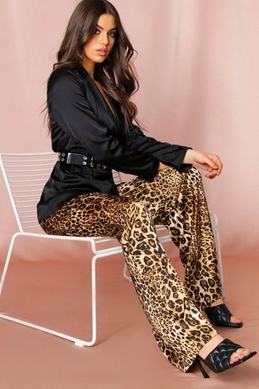 Leopard Print Satin Wide Leg Trousers