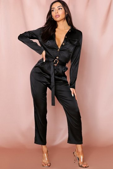 Black Satin Utility Belted Jumpsuit