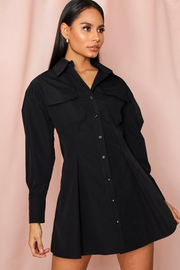 Black FItted Waist Pocket Detail Shirt Dress