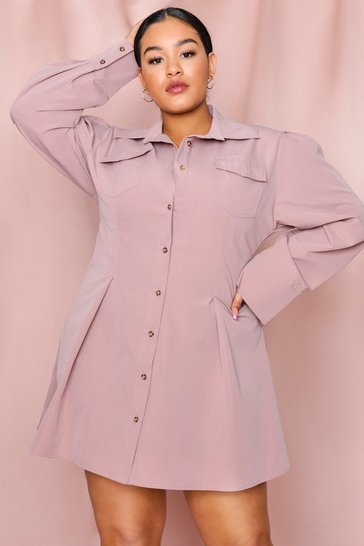 Rose pink FItted Waist Pocket Detail Shirt Dress