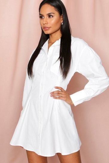 White FItted Waist Pocket Detail Shirt Dress