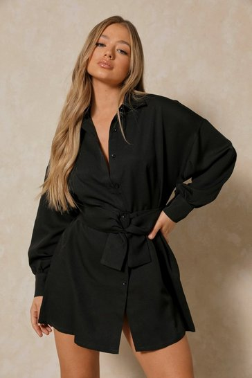 Black Belted Balloon Sleeve Shirt Dress