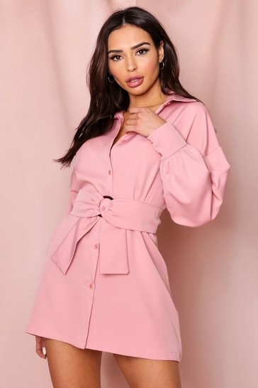 Dusky pink Balloon Sleeve Belted Shirt Dress