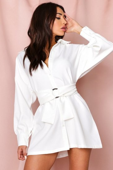 White Belted Balloon Sleeve Shirt Dress