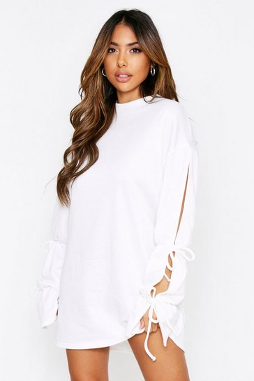 Cream Tie Sleeve Sweat Dress