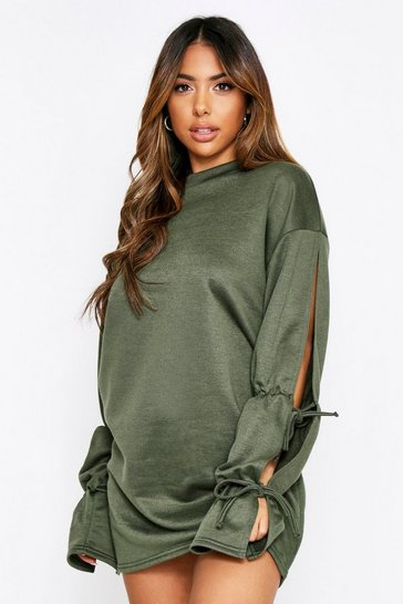 Khaki Tie Sleeve Sweat Dress