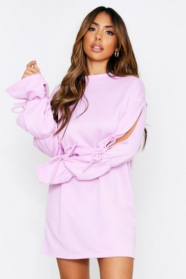 Lilac Tie Sleeve Sweater Dress