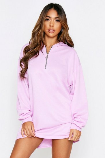 Lilac Ring Pull Zip Front Hooded Sweater Dress