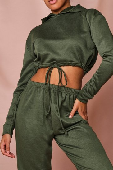Khaki Drawstring Hem Cropped Hooded Sweater