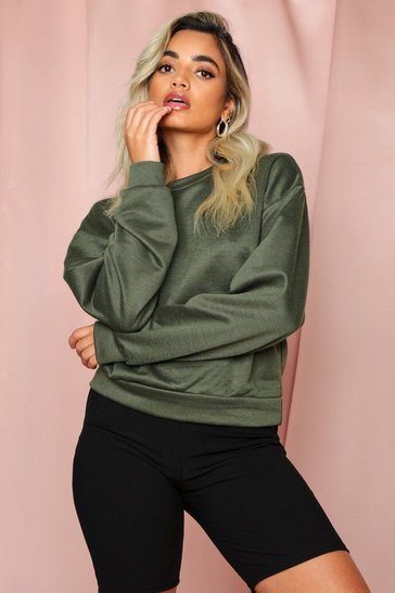 Khaki Crew Neck Oversized Sweater