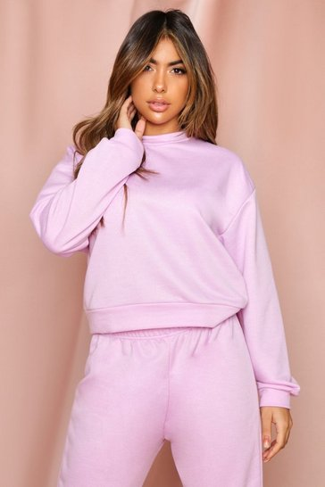 Lilac Basic Crew Neck Sweatshirt