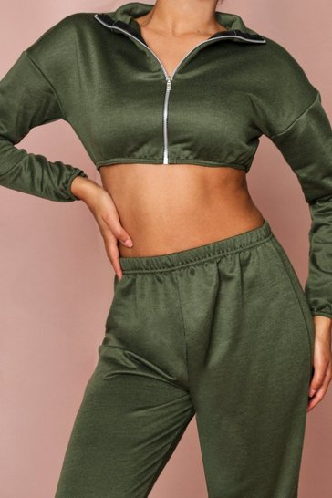 Khaki Zip Front High Neck Cropped Sweater