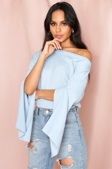 Baby blue Cropped Off Shoulder Sweater