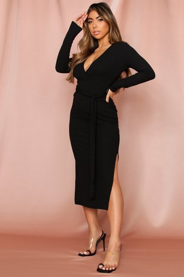 Black Soft Rib Wrap Beltted Midi Dress