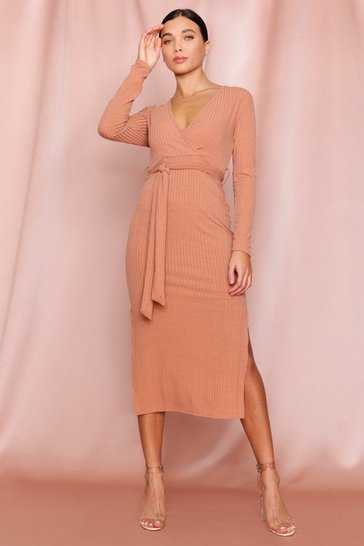 Camel Soft Rib Wrap Beltted Midi Dress