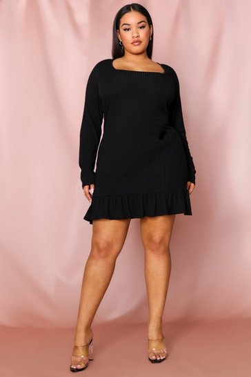Black Soft Rib Frill Hem Bodycon Dress