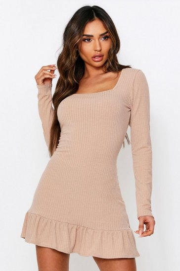 Stone Soft Rib Frill Hem Bodycon Dress
